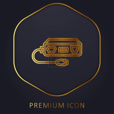 Adapter golden line premium logo or icon