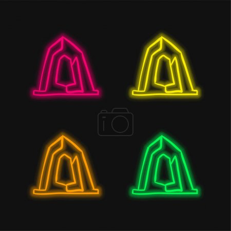 Illustration for Artistic Construction Monument Outline four color glowing neon vector icon - Royalty Free Image
