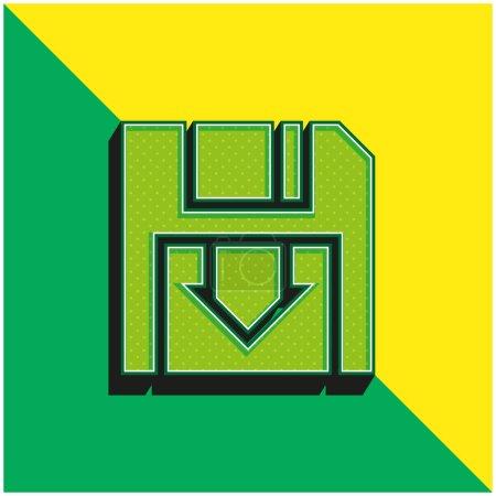 Illustration pour Sauvegarde Logo de l'icône vectorielle 3D moderne verte et jaune - image libre de droit