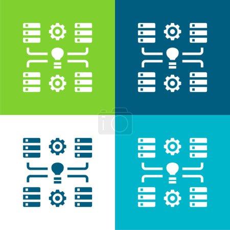 Illustration for Big Data Flat four color minimal icon set - Royalty Free Image