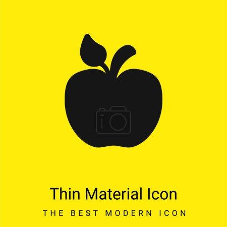 Illustration pour Pomme avec Little Leaf minime icône de matériau jaune vif - image libre de droit