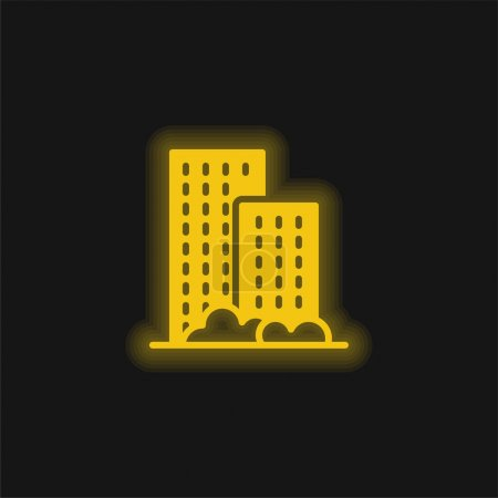 Illustration for Apartment yellow glowing neon icon - Royalty Free Image