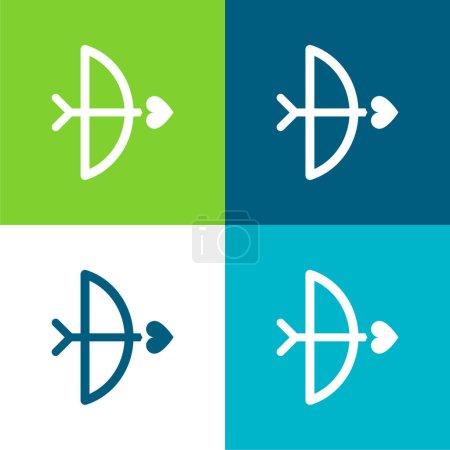 Pfeil und Bogen Flache Vier-Farben-Minimalsymbolset