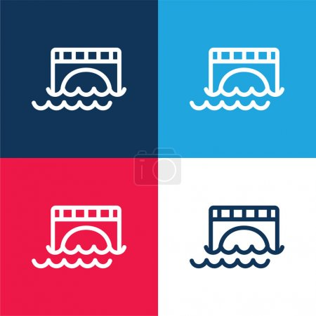 Bridge Over Water blue and red four color minimal icon set