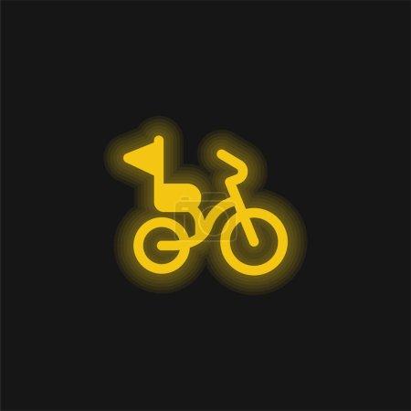 Photo pour Bicyclette jaune brillant icône néon - image libre de droit