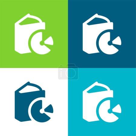 Illustration pour Livre avec un Cd plat quatre couleurs minimum jeu d'icônes - image libre de droit
