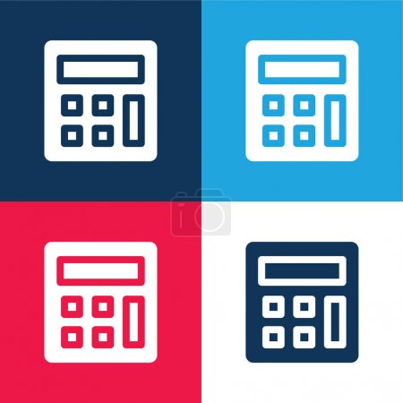 Accounting blue and red four color minimal icon set