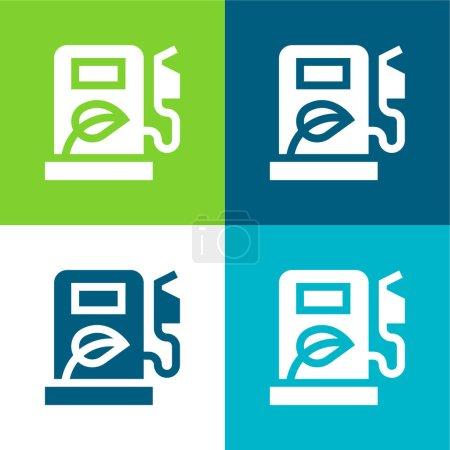 Biofuel Flat four color minimal icon set