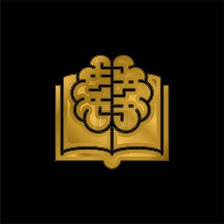 Libro chapado en oro icono metálico o logo vector