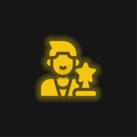 Photo pour Acteur jaune brillant icône néon - image libre de droit