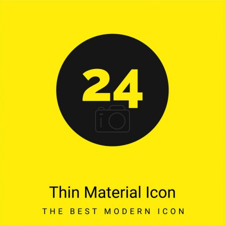 Photo pour Icône matérielle jaune vif minimale de 24 heures - image libre de droit
