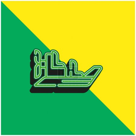 Illustration for Boat Green and yellow modern 3d vector icon logo - Royalty Free Image
