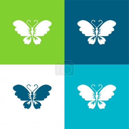 Illustration pour Vue du dessus du papillon noir avec les ailes ouvertes Ensemble d'icônes minimal plat de quatre couleurs - image libre de droit