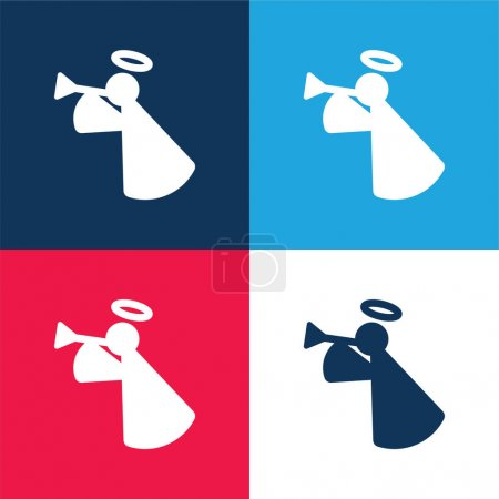 Illustration for Angel blue and red four color minimal icon set - Royalty Free Image
