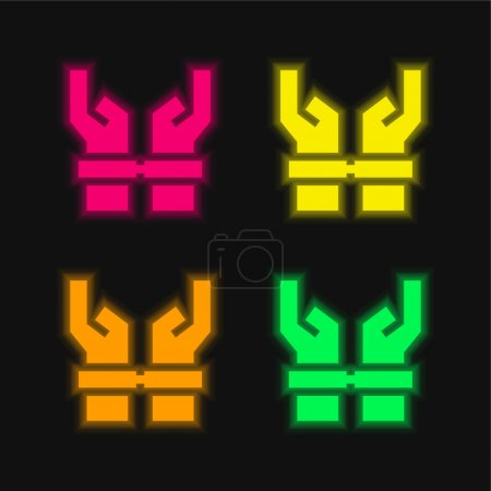 Illustration for Arrested four color glowing neon vector icon - Royalty Free Image