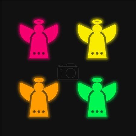Foto de Ángel de cuatro colores brillante icono del vector de neón - Imagen libre de derechos