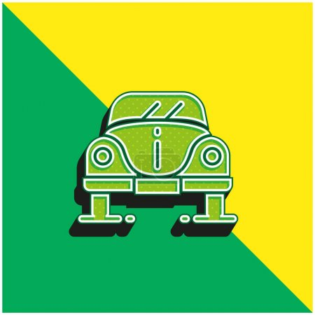 Beetle Green and yellow modern 3d vector icon logo