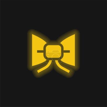 Illustration pour Noeud papillon jaune brillant icône néon - image libre de droit