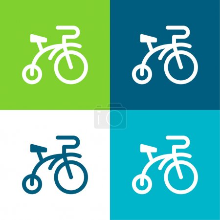 Bicycle Flat four color minimal icon set