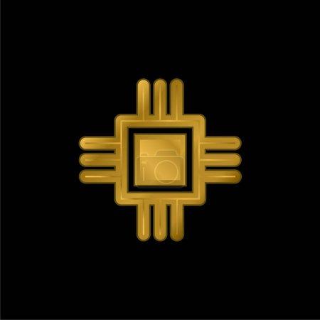 Photo pour Big Chip plaqué or icône métallique ou logo vecteur - image libre de droit