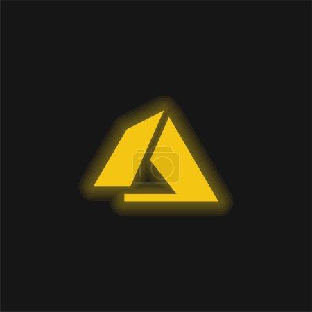 Illustration pour Icône néon jaune azur - image libre de droit