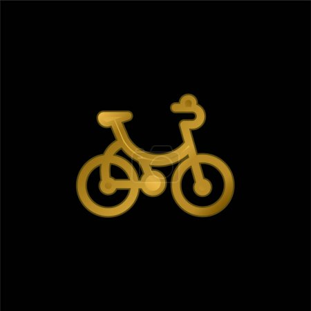 Bicycle gold plated metalic icon or logo vector