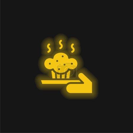 Illustration pour Cuisson jaune brillant icône néon - image libre de droit