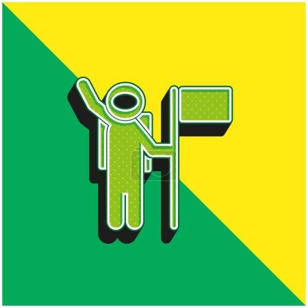 Illustration pour Astronaute avec un drapeau vert et jaune moderne icône vectorielle 3d logo - image libre de droit