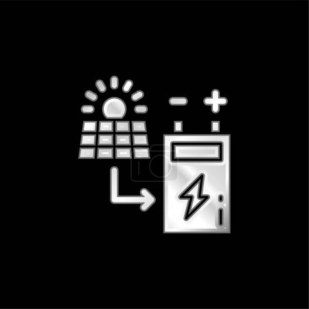 Illustration for Battery silver plated metallic icon - Royalty Free Image