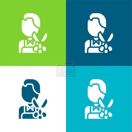 Photo pour Barber Ensemble d'icônes minime plat quatre couleurs - image libre de droit