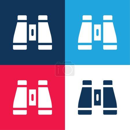 Illustration pour Jumelles bleu et rouge quatre couleurs minimum jeu d'icônes - image libre de droit