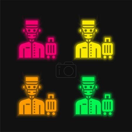 Photo pour Icône vectorielle néon éclatante Bell Boy quatre couleurs - image libre de droit