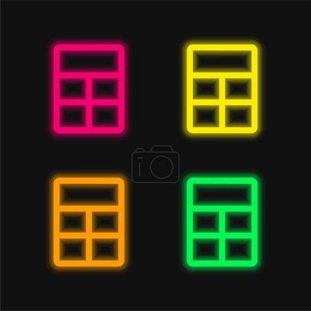 Grande mise en page quatre couleur brillant icône vectorielle néon