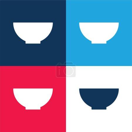 Illustration pour Bol bleu et rouge quatre couleurs minimum jeu d'icônes - image libre de droit