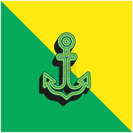 Illustration for Anchor Green and yellow modern 3d vector icon logo - Royalty Free Image