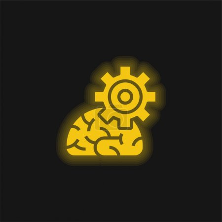 Illustration for Algorithm yellow glowing neon icon - Royalty Free Image
