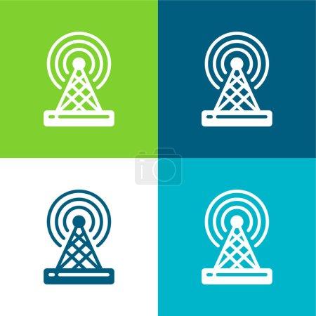 Illustration pour Antenne Ensemble d'icônes minimal plat quatre couleurs - image libre de droit