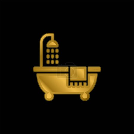 Bathroom gold plated metalic icon or logo vector