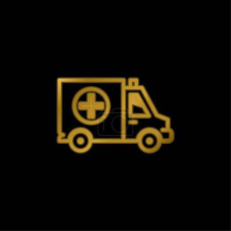 Illustration pour Big Ambulance plaqué or icône métallique ou logo vecteur - image libre de droit