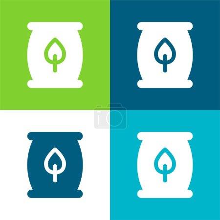 Illustration for Biomass Energy Flat four color minimal icon set - Royalty Free Image