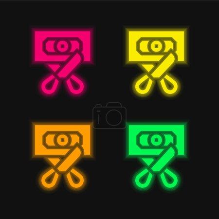 Photo pour Faillite quatre couleurs rougeoyantes icône vectorielle néon - image libre de droit