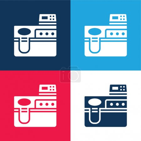 Illustration for Biotechnology blue and red four color minimal icon set - Royalty Free Image