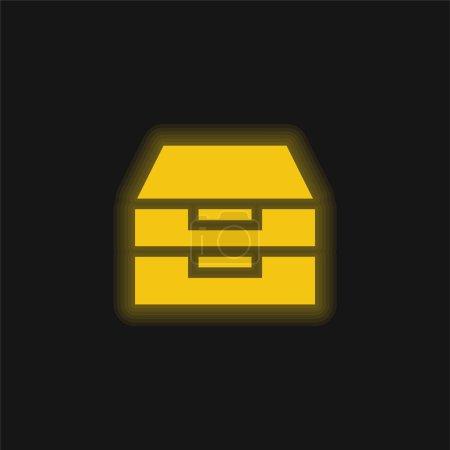 Illustration pour Archive icône jaune néon brillant - image libre de droit