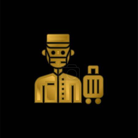 Illustration pour Bell Boy icône métallique plaqué or ou logo vecteur - image libre de droit