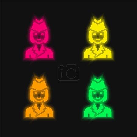 Photo pour Hôtesse de l'air quatre couleur brillant icône vectorielle néon - image libre de droit
