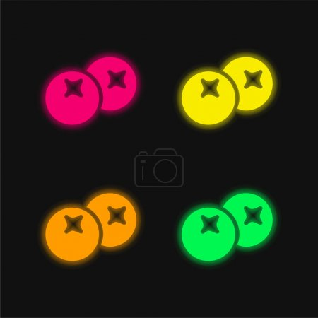 Illustration pour Baies quatre couleurs rougeoyantes icône vectorielle néon - image libre de droit