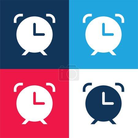 Illustration pour Réveil bleu et rouge quatre couleurs minimum icône ensemble - image libre de droit