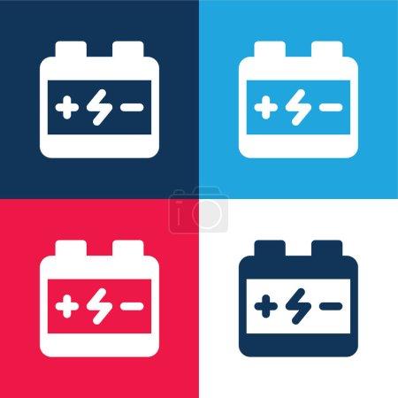 Photo pour Batterie bleu et rouge quatre couleurs minimum jeu d'icônes - image libre de droit