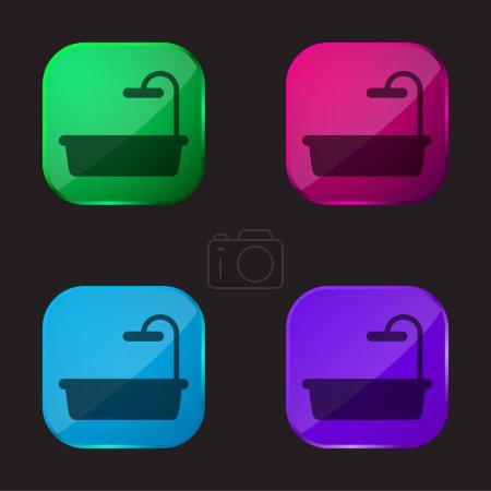Illustration pour Baignoire icône bouton en verre quatre couleurs - image libre de droit