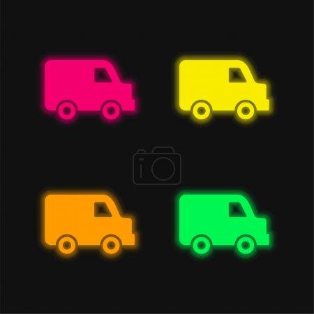 Illustration pour Noir Livraison Petit Camion Vue latérale quatre couleurs brillant néon vecteur icône - image libre de droit
